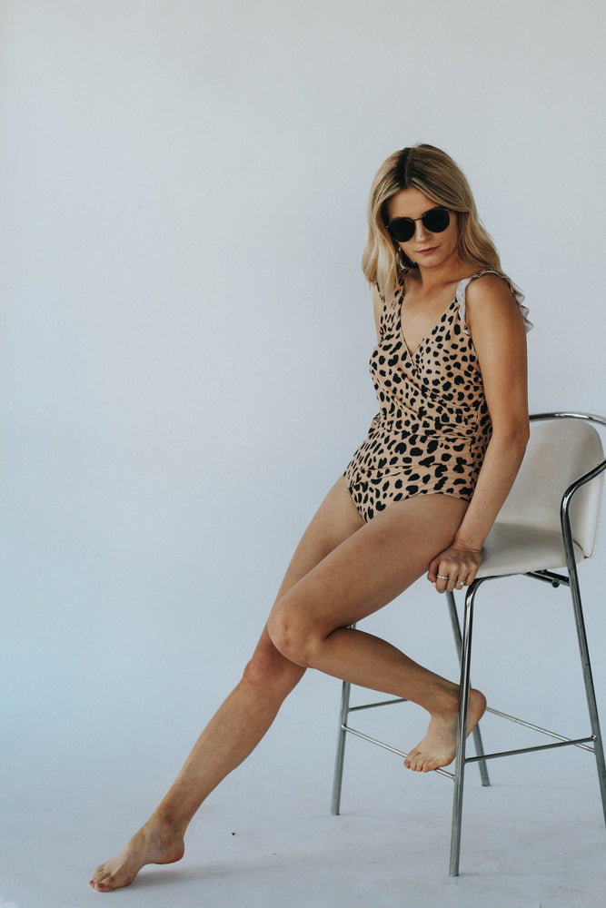 Leopard Printed Ruffle One Piece Swimsuit