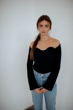 Rae Ribbed Square Neck Top in Black