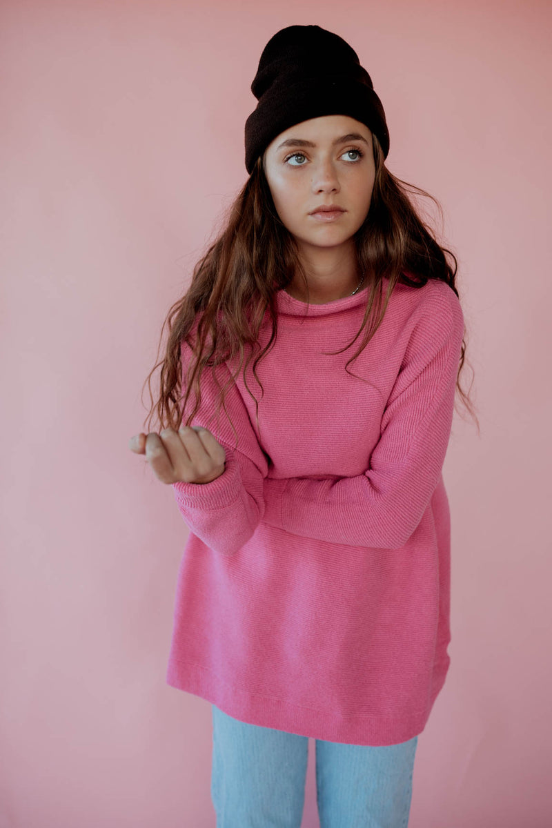 Free People: Ottoman Slouchy Sweater in Electric Pink