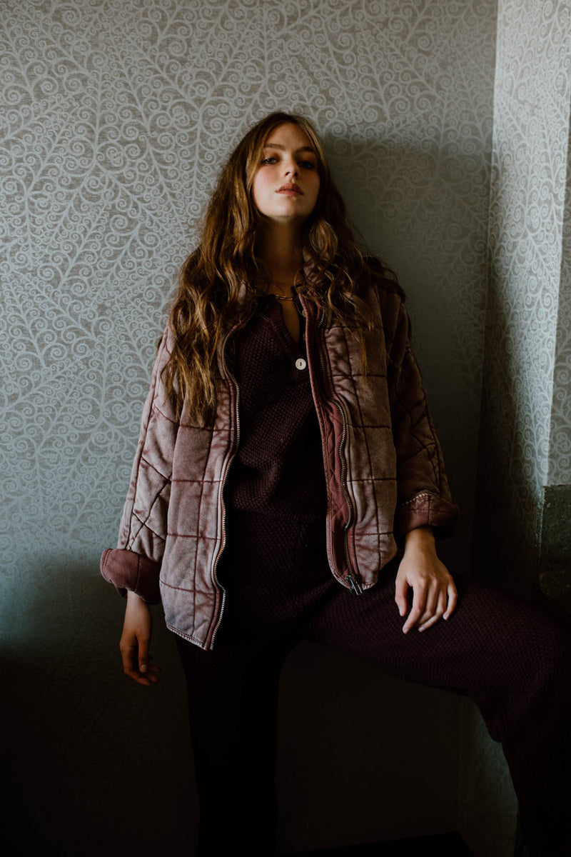 Free People: Dolman Quilted Jacket in Cherry Cola