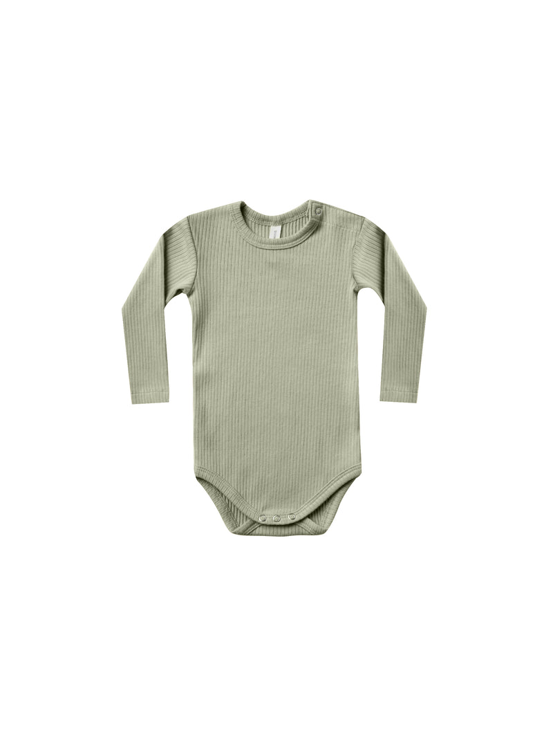Quincy Mae: Organic Ribbed Long Sleeve Onesie (Olive)