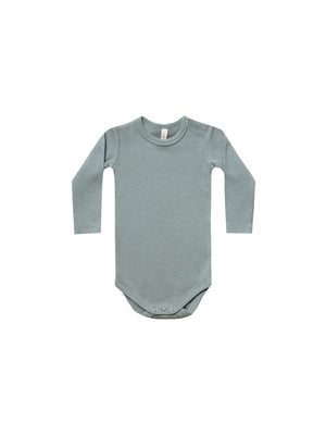 Quincy Mae: Ribbed Onesie (Sea)