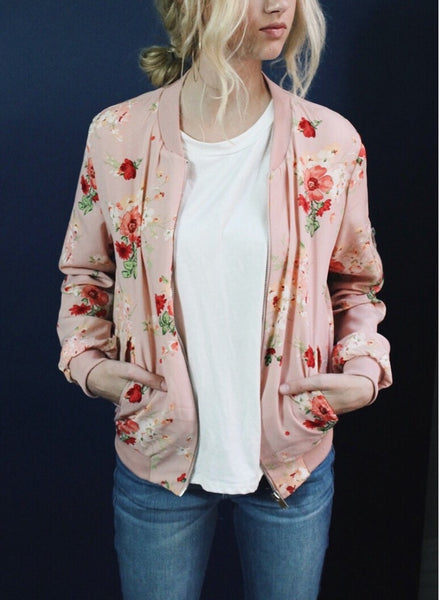 Dusty Pink Floral Bomber