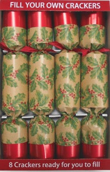 "8 x 12"" (30cm) Handmade Christmas Crackers Fill your own - KRAFT HOLLY (19-01)"