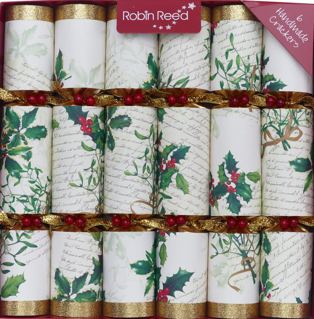 "6 x 12"" luxury handmade Christmas Crackers by Robin Reed - Italian Mistletoe and Holly"