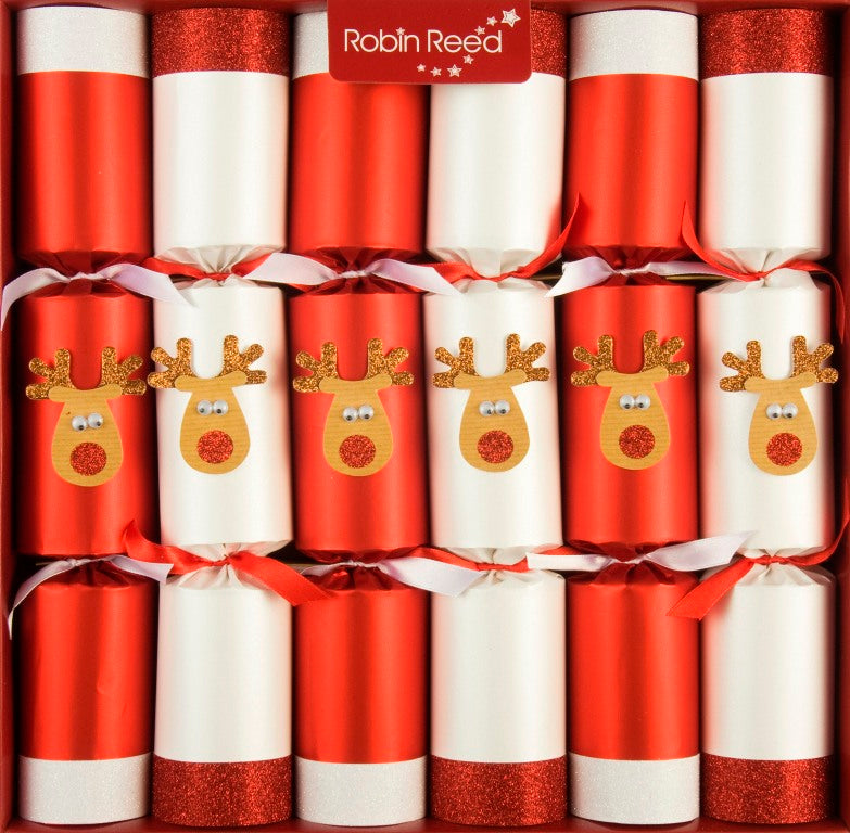 "6 x 13"" (33cm) Christmas Crackers - Glitter Racing Reindeer Crackers by Robin Reed (701)"