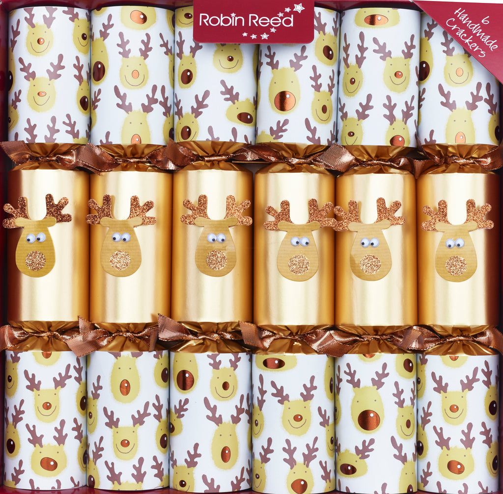 "6 x 13"" (33cm) Gold Racing Reindeer Christmas Crackers - Handmade by Robin Reed (CCS71810)"