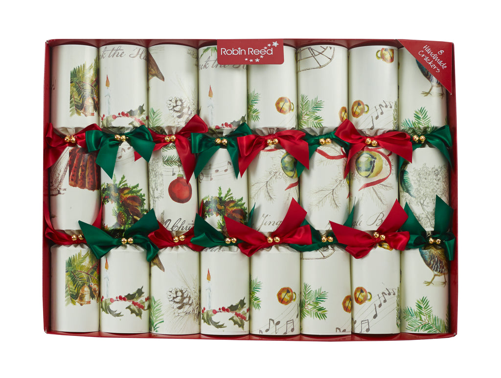 "8 x 14"" Handmade Christmas Crackers by Robin Reed - Sleigh Bells containing musical handbells"