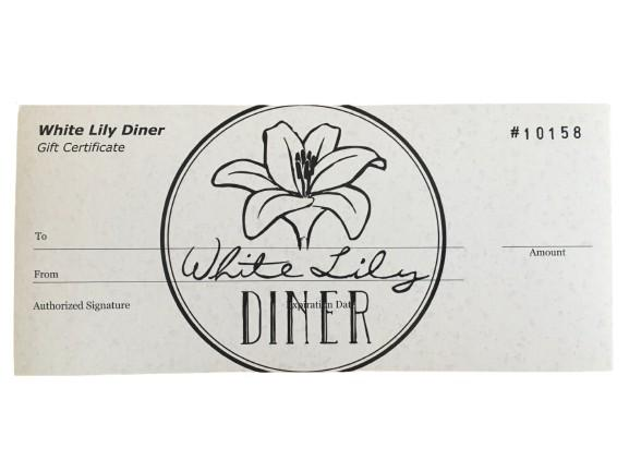Gift Certificate $50 - White Lily Diner