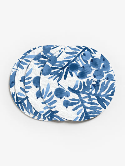 Berries and Branches in Blue Vinyl Coasters (Set of 4)