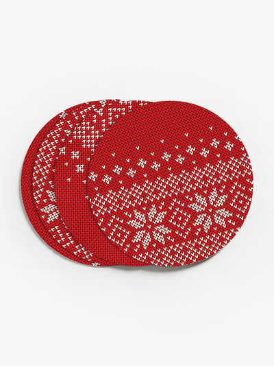 Knit Snowflakes Vinyl Coasters (Set of 4)