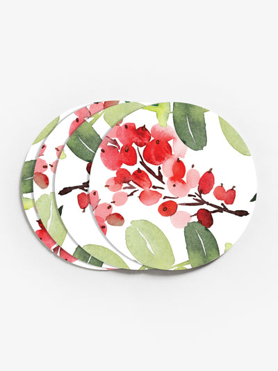 Watercolor Holly and Ivy Vinyl Coasters (Set of 4)