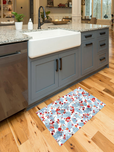 Watercolor Blue Spruce and Berries Vinyl Kitchen Mat