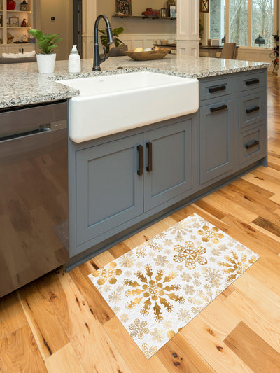 Golden Snowflake Vinyl Kitchen Mat