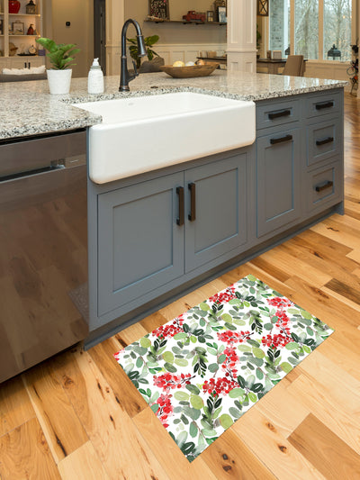 Watercolor Holly and Ivy Vinyl Kitchen Mat
