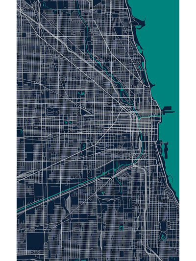 Chicagoland Map Vinyl Area Rug