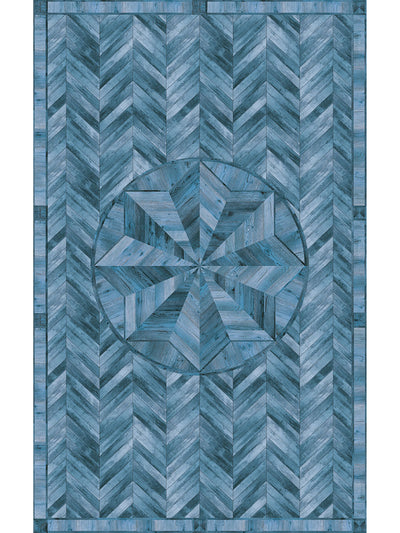 Wooden Star Inlay Vinyl Living Room Rug