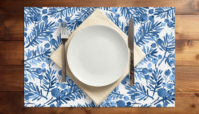 Berries and Branches in Blue Vinyl Placemats (set of 4)