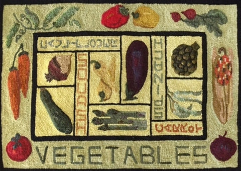 Veggies, rug hooked by Donna Zinnecker