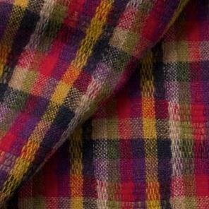 Wool fabric for rug hooking, Multi Colored Red, Black, Gold, Purple & Olive Plaid, offered by Honey Bee Hive