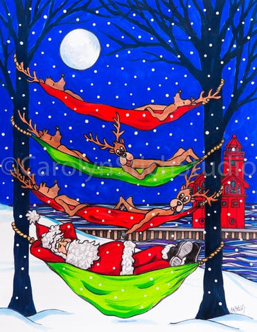 Hammocking Santa at Big Red, rug hooking pattern