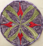Flower on Diamond Chairseat, rug hooked by Claudia Lampley