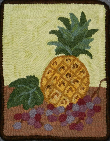 P624: Pineapple Still Life, Hooked by Carolyn Cooke