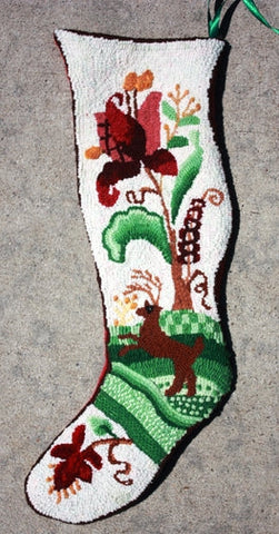P671: Christmas Stocking, Hooked by Sondra Kellar