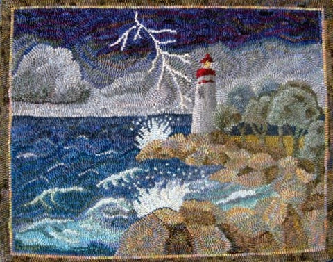 P851: Sandusky Light House, Hooked by Karen Maddox