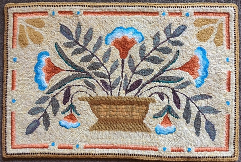 Bowl Of Flowers, rug hooked by Valerie Begeman