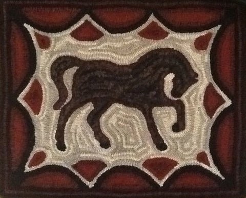 Horse, rug hooked by Ingrid Hieronimus
