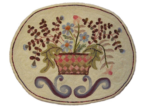 Basket Of Flowers, rug hooked by Helen Mar Parkin