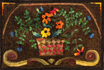 Basket Of Flowers, rug hooked by Libbey Lundgren