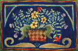 Basket Of Flowers, rug hooked by Melissa Pattacini