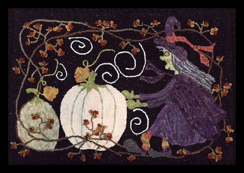 Witch's Pumpkin Search, rug hooked by Karen Barnhart
