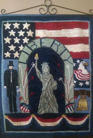 Fourth Of July, rug hooked by Connie Bradley
