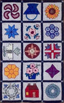 Quilt Sampler For Wide Cut, rug hooked by Biffie Norris Gallant