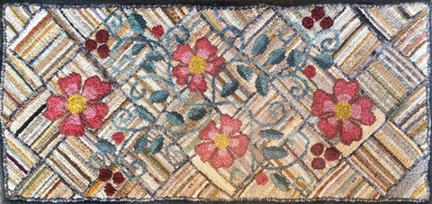 Val's Old Iowa Weave Runner, rug hooked by Valerie Begeman