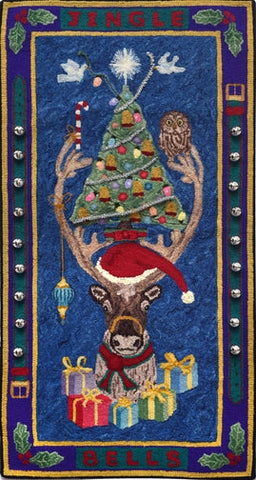 Jingle Bells, rug hooked by John Leonard
