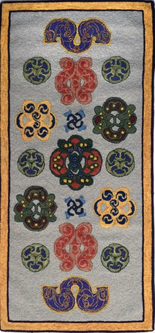 Celtic Horse Ornaments, rug hooked by John Leonard