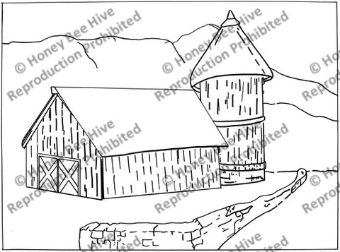 Barn, Silo & Wall, rug hooking pattern
