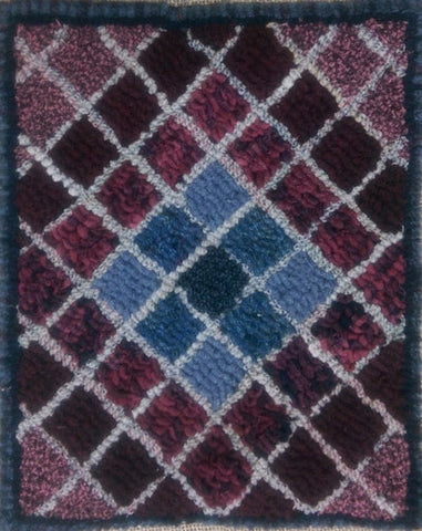 Diamond Quilt Square, rug hooked by Connie Bradley