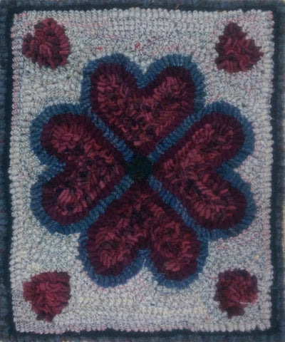 Floral Heart Quilt Square, rug hooked by Connie Bradley