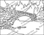 Arched Bridge Yosemite, rug hooking pattern