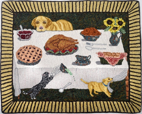 Turkey!, rug hooked by John Leonard