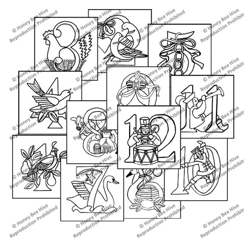 PR1749-ALL: Twelve Days of Christmas - Set of 12 Pillow Top Rug Hooking Patterns