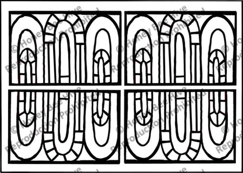 French Stained Glass Arches, rug hooking pattern
