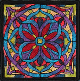 Stained Glass Mosaic, rug hooked by Lori Rokusek