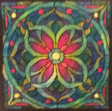Stained Glass Mosaic, rug hooked by Angela Foote