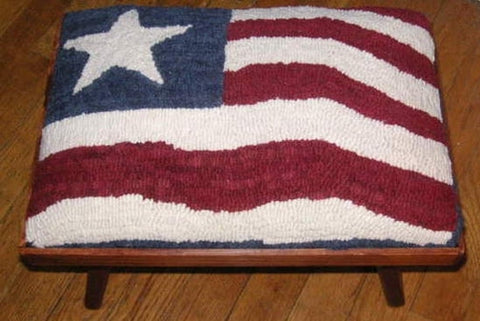 UTR-fs-079: Flag - Country Footstool Pattern, Hooked by Carolyn Cooke